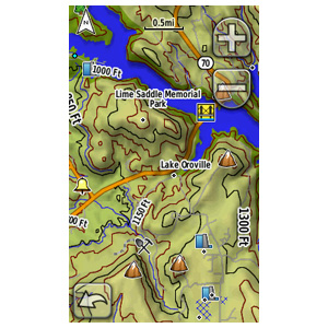 The Garmin Oregon's touch-screen interface makes it easy to zoom and pan your maps